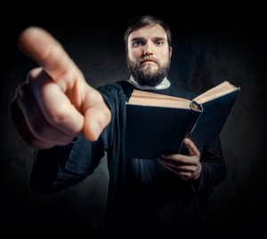 A man holding the bible